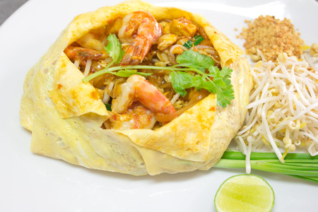 Thai style noodles or pad thai with shirmps photo
