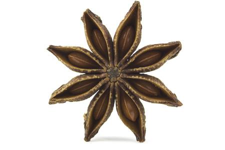 badiane: Close up Star anise, badiane spice isolated on white background  Stock Photo