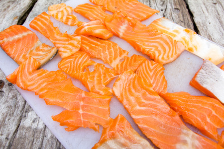 blubber: Home made smoked salmon on old wood