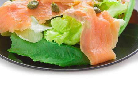 blubber: Close up smoke salmon with salad