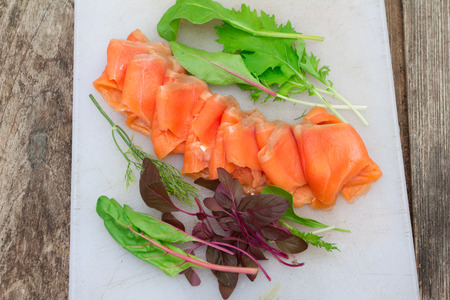 blubber: Smoke salmon with vegetable on old wood