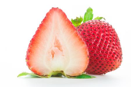 Fresh strawberries isolated on white background, Macro  photo