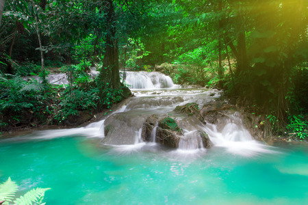 Tropical waterfall in the forest, Sanang Manola in Phangnga South of Thailand photo