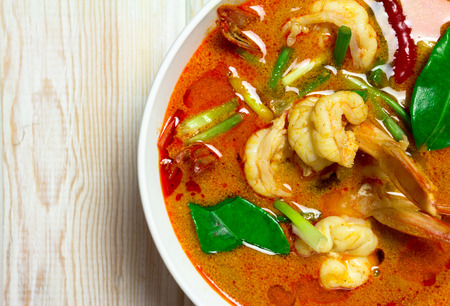 close up food: Tom Yam Kung, Spicy Thai food close up. Top view Stock Photo