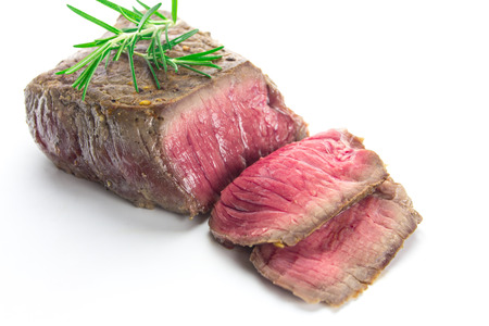 flesh: grilled fillet steak on white background