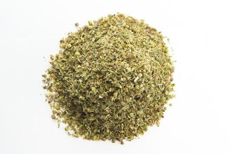 oregano plant: Top view of dried oregano leaves on a white background  Stock Photo