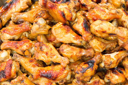 Hot and Spicey BBQ Chicken Wings background Stock Photo