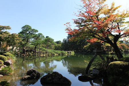 garden fountain: Japanese bridge in botanical garden