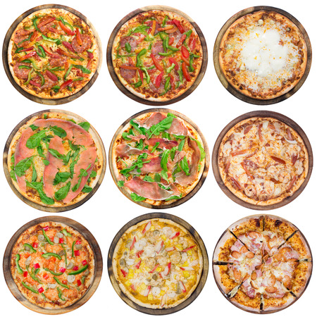 Nine different pizzas in one set, isolated on white, top view photo