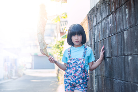 girl in dress: Portrait of beautiful little Asian girl outdoors