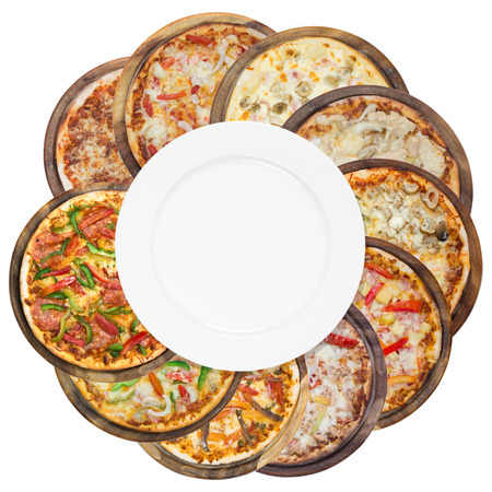 Set of different pizzas in one set, isolated on white, top view Stock Photo