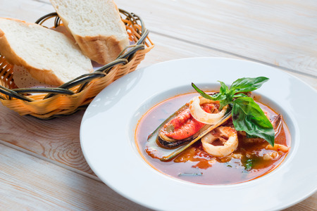 seafood soup: Bowl of spicy seafood soup