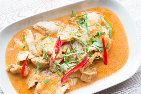 thai pepper: Close up spicy Thai Food Red Curry Chicken