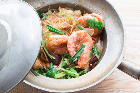 heathy diet: Glass noodles barked with King prawn