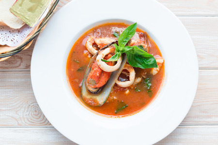 seafood soup: Top view of Bowl of spicy seafood soup