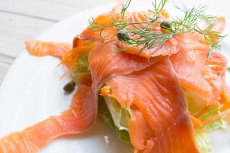 blubber: Close up smoke salmon on white dish