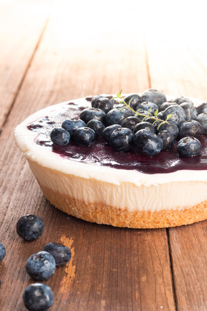 blueberry pie: Blueberry pie cheese on old wood table Stock Photo