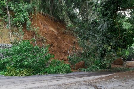 natural disasters: Natural disasters, landslides during the rainy season .