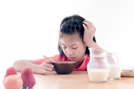 unruly: Asian girl dont want to eat his breakfast