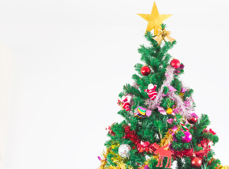 white christmas tree: Christmas tree with colorful ornaments, on white background