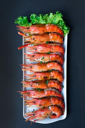 prawn: Grilled Giant River Prawn, top view on black background Stock Photo