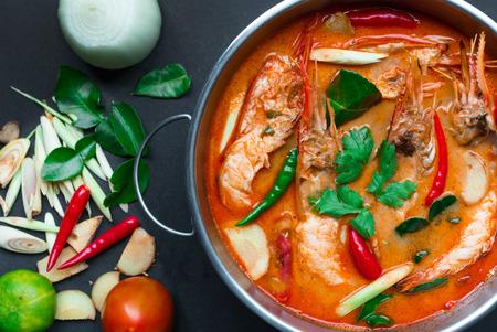 Tom Yum Goong,Thai Food on black background Stock Photo