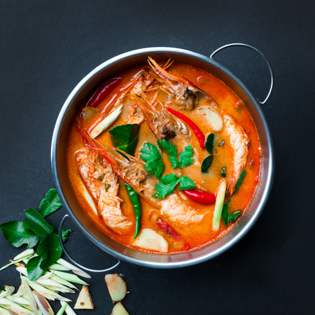 thai: Tom Yum Goong,Thai Food, Top view on black background