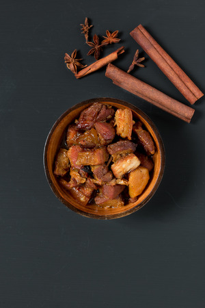 dongpo: Chinese pork belly caramelized and braised in soy sauce with star anise, cinnamon and chilies.