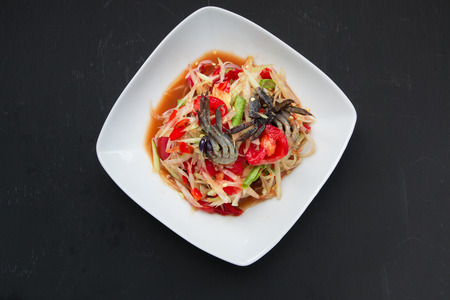 spicy cooking: spicy papaya salad with salted crab and fermented fish