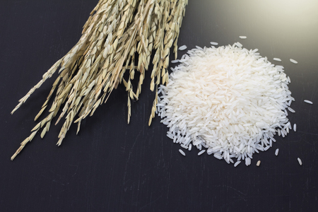 rice grain on black background