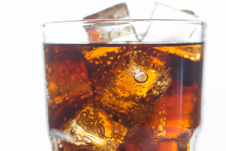 co action: Close up Soda, Cola, Cold Drink in glass Stock Photo