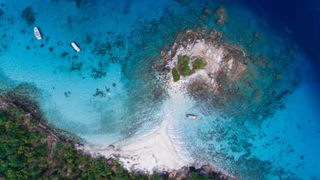 Aerial view of racha noi island, Tropical beach in Phuket South of Thailand Фото со стока