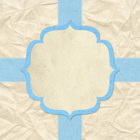 Vintage style background with blue frame and ribbons photo