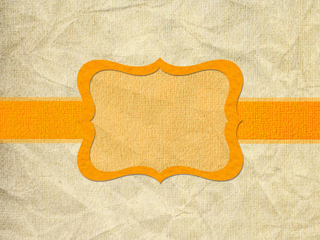 Vintage style orange background with frame and ribbon photo
