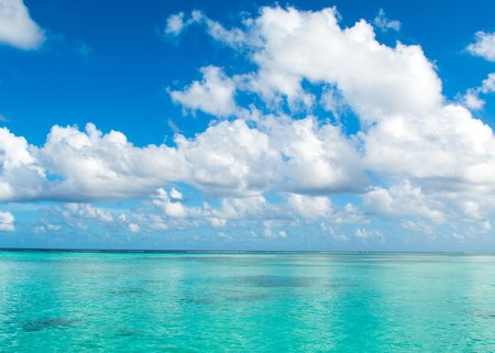 Beautiful landscape of clear turquoise Indian ocean, Maldives islands