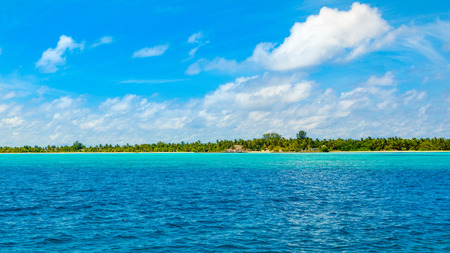 Beautiful panoramic landscape of tropical Maldives island with palms and sandy beach of crystal water of the Indian Ocean Banco de Imagens