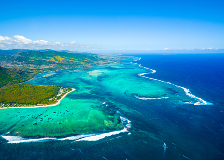 Aerial view of Mauritius island panorama and beautiful blue lagoon