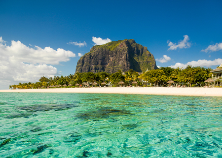 Panoramic landscape of tropical beach and famous  Le Morne Brabant mountain in Mauritius island