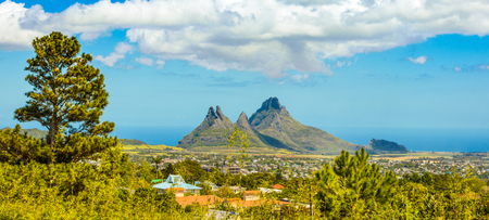 Beautiful landscape of tropical Mauritius island - view from Gorges viewpoint