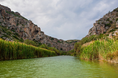 View of Kourtaliotis river near Preveli in southern Crete, Greece  Stock Photo