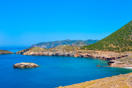Beautiful summer landscape of the southern coast of the island of Crete, Greece