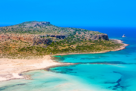 Beautiful summer landscape Balos bay and lagoon with crystal clear turquoise water, Gramvousa, Crete, Greece Stock Photo