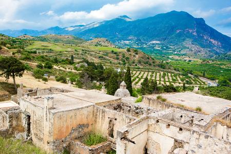 Ruins of Lower monastery at Preveli, Crete island, Greece