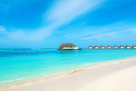 Beautiful landscape of over water villas, Maldives island, Indian Ocean Standard-Bild - 113681683