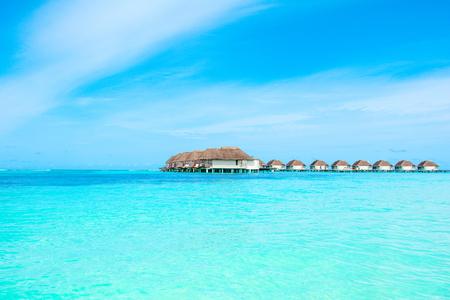Beautiful landscape of over water villas, Maldives island, Indian Ocean Standard-Bild - 113681684