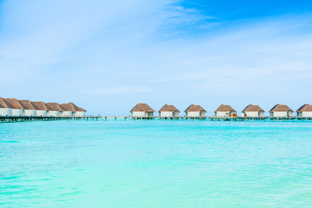 Beautiful landscape of over water villas, Maldives island, Indian Ocean Standard-Bild - 113681685