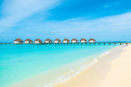 Beautiful landscape of over water villas, Maldives island, Indian Ocean Standard-Bild - 113681687