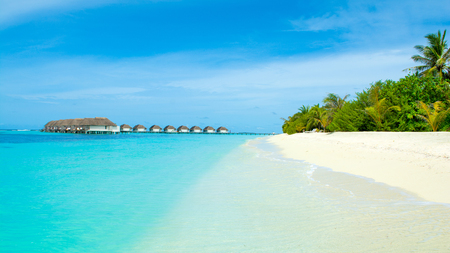 Lhaviyani Atoll, Maldives - 12 July 2018: Beautiful landscape of over water villas in luxury hotel, Kanuhura island Editöryel