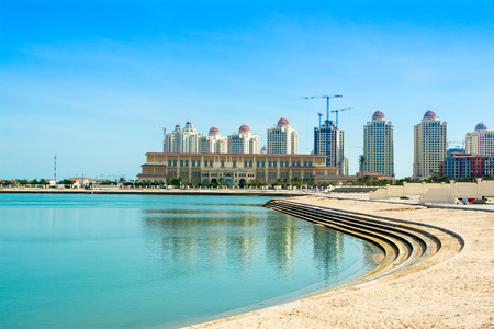 Beachside residences in The Pearl Qatar - most famous island in the capital of Qatar