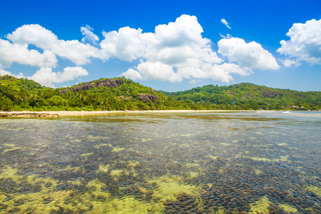 Beautiful tropical landscape with green hills on the shores of the Indian Ocean, Seychelles Standard-Bild - 126089793
